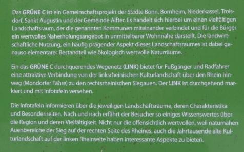 Foto einer Schautafel zum Grünen C