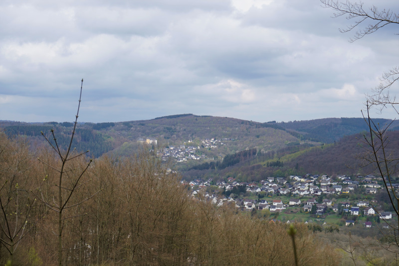 Natursteig Sieg, Blick zur gelbleuchtenden Freusburg